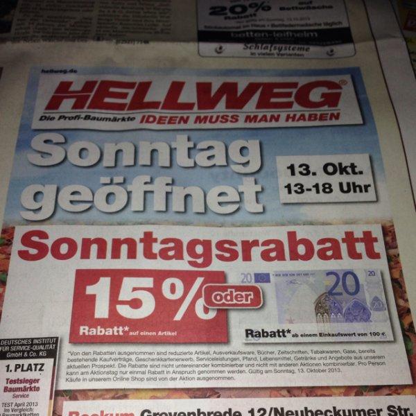 [Lokal-Beckum] Hellweg -15% Rabatt oder 20€ Rabatt auf den Einkauf  am Sonntag