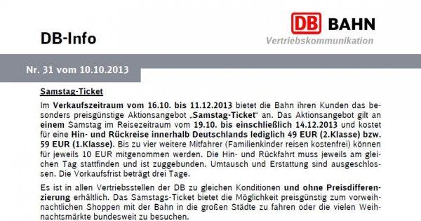 DB Bahn: Deutschlandweite Hin- und Rückfahrt inkl. ICE, IC und EC an den Herbstsamstagen für 49 bzw. 59 Euro (2./1. Klasse)
