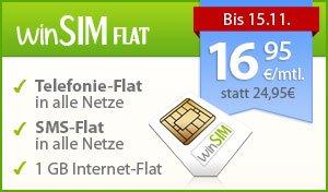 16,95 €/Monat winSIM Flat (Telefonie-, SMS-, 1-GB-Datenflat, monatl. kündbar) für 15,90 € Anschlussgebühr @amazon.de mit VISA2013 Gutschein