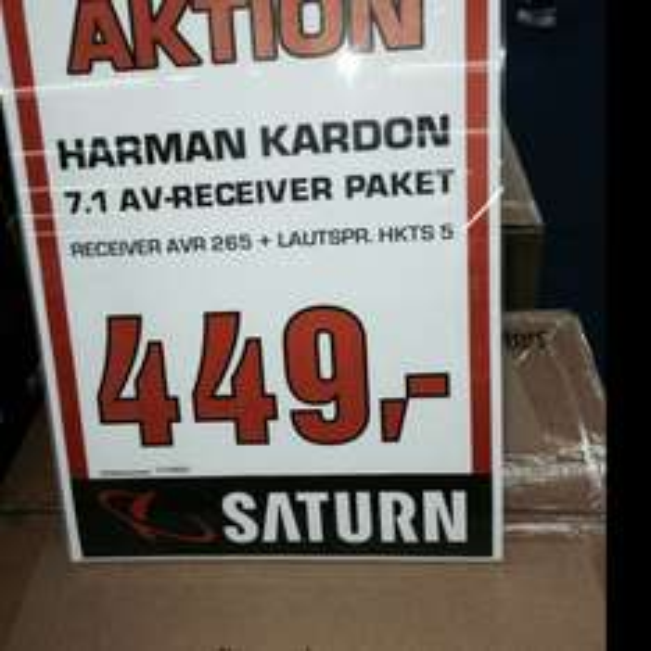 [LOKAL] Saturn Skyline Plaza FRANKFURT Harman Kardon AVR 265 + 5.1 Lautsprecher Set hkts 5 (idealo 333+226 €)