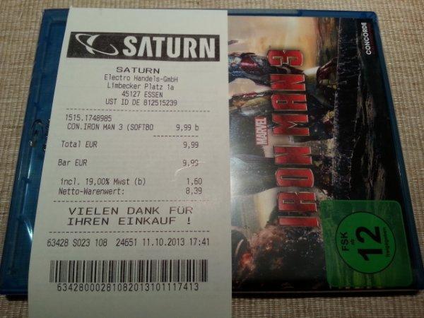 [Lokal] Saturn Essen Blu-ray Iron Man 3 für 9,99€