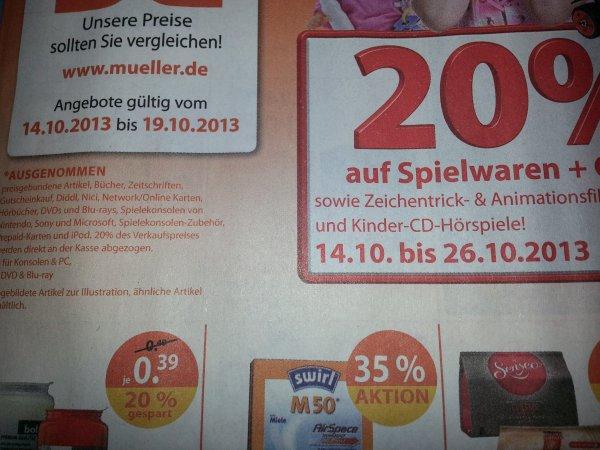 20% Rabatt auf Spielwaren bei Müller von 14.10-26.10.2013