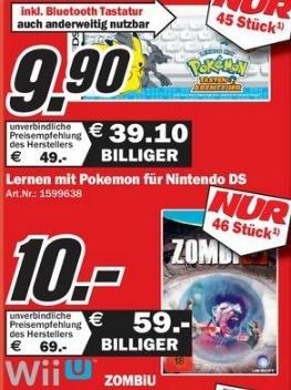 [MM Ludwigshafen] Sammelthread für Konsolenangebote, u.a. WiiU ZombiU 10€, Nintendo DSi (weiß) 88€, Lernen mit Pokemon für DS 9,90€ ... am 14.10.13
