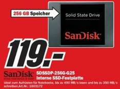 [Lokal] SanDisk 256 GB interne SSD-Festplatte für 119€ im MM Heilbronn, K'lautern + Umgebung