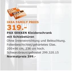 IKEA Düsseldorf, Wallau, Saarlouis, Hamburg-Schnelsen, Großburg-Wedel & Frankfurt: Jeden PAX-Schrank zum Family Preis (-20%, ohne Innenausstattung) ab 12. bzw. 19.10.