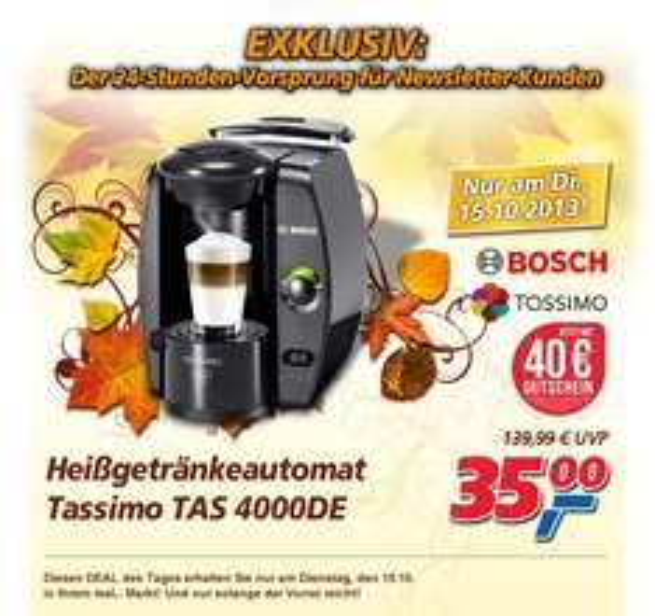 [real,- National] nur Dienstag, 15.10: Tassimo TAS400DE inkl. 40 Euro Tassimo-Gutschein nur 35 Euro
