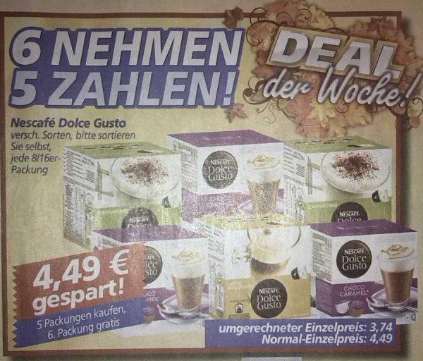 [real,- offline] Dolce Gusto Kapseln für umgerechnet 3.74 Euro pro Packung (beim Kauf von 6 Packungen)