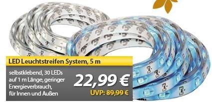 5 m LED Leuchtstreifen System - in blau oder warmweiß, für 22,99 € portofrei