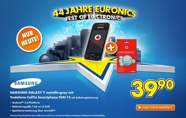 Nur heute das Samsung Galaxy Y im Vodafone Prepaid Paket für 39,90 Euro!
