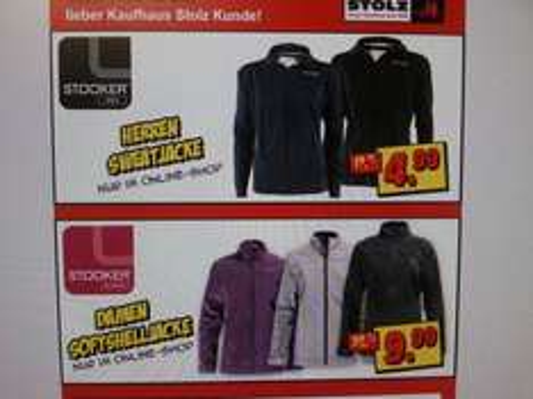 Stooker Men Sweatjacke 4,99€ und Women Softshell 9,99€