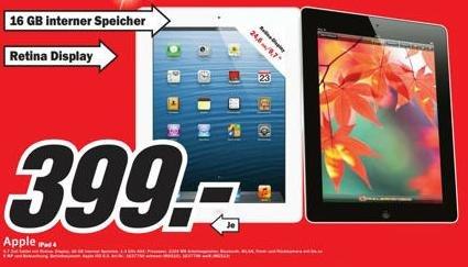 {LOKAL?} MM Hamburg - iPad 4 (16 GB) schwarz & weiß - 399,00 EUR