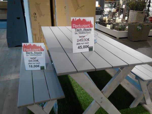 [lokal] Kaufpark Eiche @ Depot: Abverkauf Tisch und/oder Sitzung in grau, Akazienholz ab 18 €