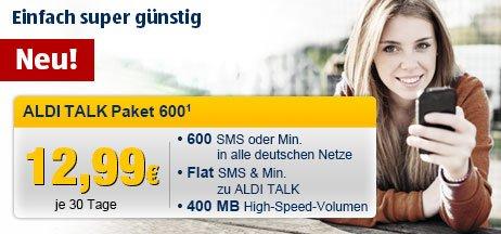 600 Freiminuten / -SMS in alle Netze und 400MB Datenflat ohne Vertragsbindung für 12,99€ / Monat