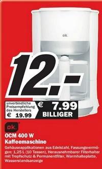 Kaffeemaschine von 19,99€ auf 12€ reduziert! - LOKAL