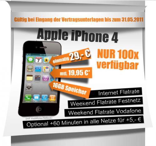 "Apple iPhone 4 16GB (Vodafone-Ware) ""Black""  + Vodafone SuperFlat Internet Wochenende (iPhone Aktion)"