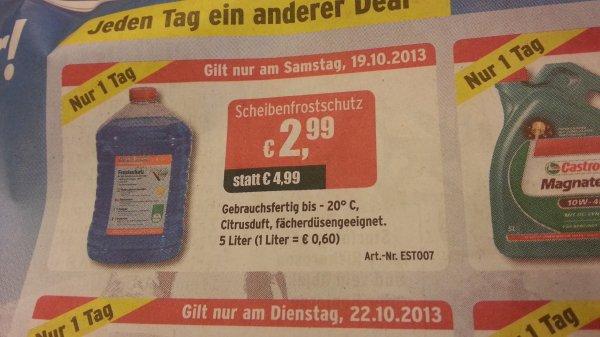 5 Ltr Scheibenfrostschutz bei ATU am Samstag 19.10.2013 für 2,99€