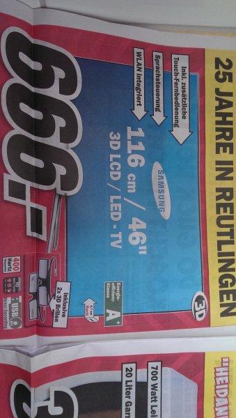 Lokal MediaMarkt Reutlingen Samsung UE46F6510 Led-Lcd TV m. 2 3D Brillen 666,-