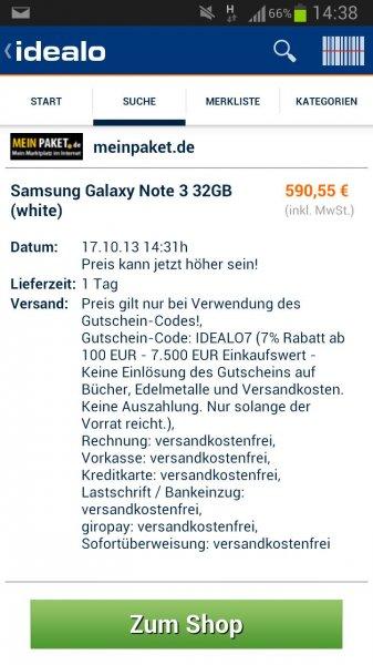 Samsung Galaxy note 3 32gb weiß meinpaket.de