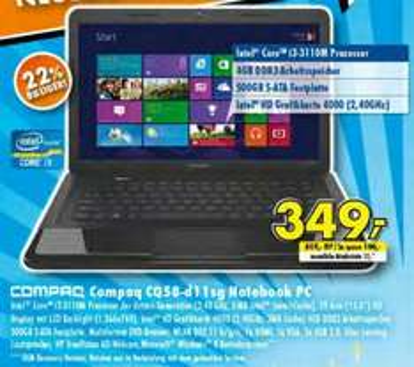 "[lokal, Fulda] HP Compaq Presario CQ58-d11SG 15,6"" Notebook [EFM Fulda]"