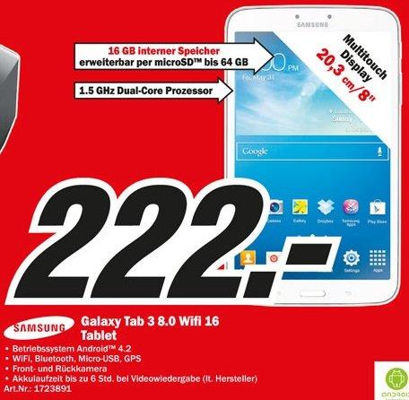 [lokal, MM Köln] Samsung Galaxy Tab 3 8.0 16GB