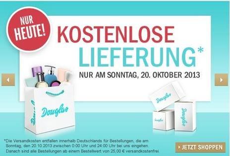 Kostenloser Versand bei Douglas.de ohne MBW nur Heute (20.10.13)