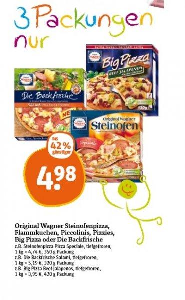 [Tegut] Wagner Pizza (Alle Sorten) 1,66 Euro pro Stück beim Kauf von 3