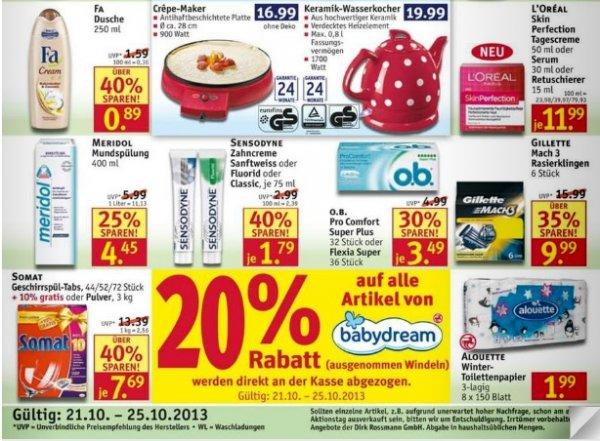 20% Rabatt auf ALLE Artikel von babydream / Rossmann (ausgenommen Windeln)