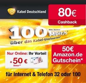 Kabel Deutschland mit 30€ Online-Vorteil + 50€ Amazon Gutschein+ 80€ Cashback von Qipu + bis zu 6 Gratis Monate + Gratis W-Lan statt 2€ / Monat
