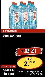[LIDL] Vittel 6er-Pack je 2 Liter für zusammen 2,99€