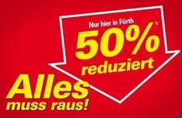 [Fürth - lokal] 50 % auf alles bei Möbel Höffner, auch Elektrogeräte!