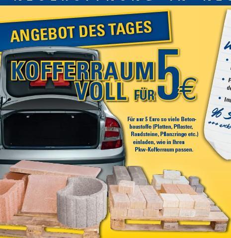 Kofferraum voller Betonbaustoffe @Benz-Baustoffe für 5 Euro