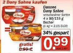 [HIT-Markt] 3 x Dany Sahne mit Coupon 1,38 € (0,46 € pro Packung)