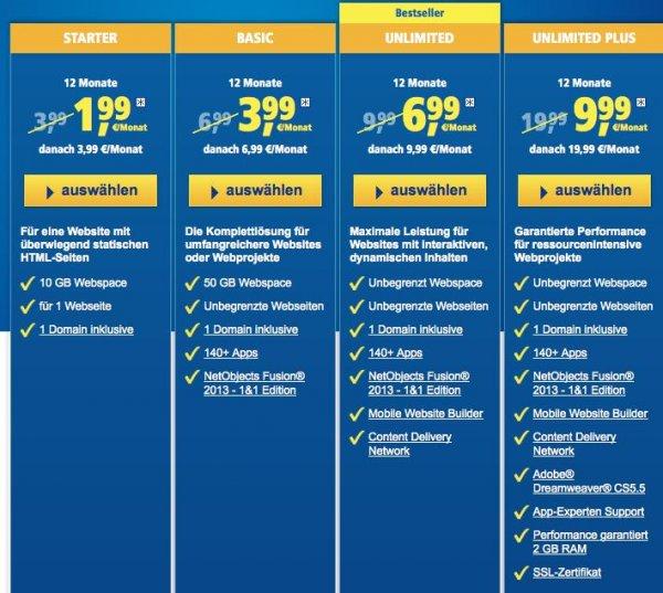 1&1 NEW HOSTING - Webhosting bis zu 50% sparen! z.B. Das Hosting-Paket 1&1 Basic 12 Monate für nur 3,99 €/Monat statt regulär 6,99 €/Monat.