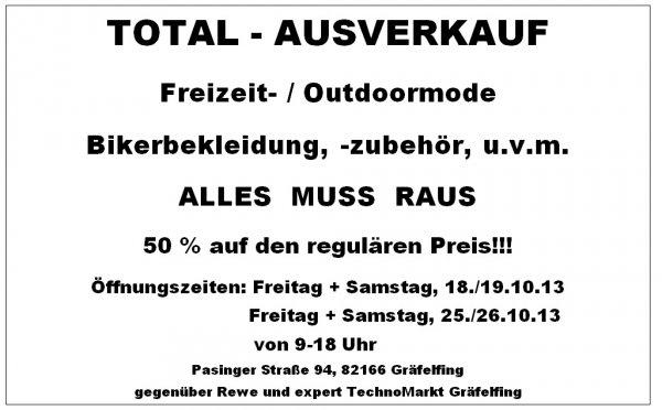 [Lokal Gräfelfing] 50% Ausverkauf Bikerbekleidung und Zubehör