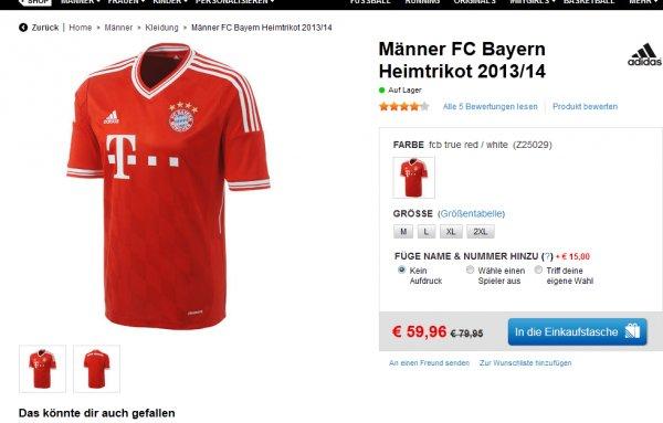 adidas - FC Bayern Heimtrikot 2013/14 Männer ab 59,96 + Versand