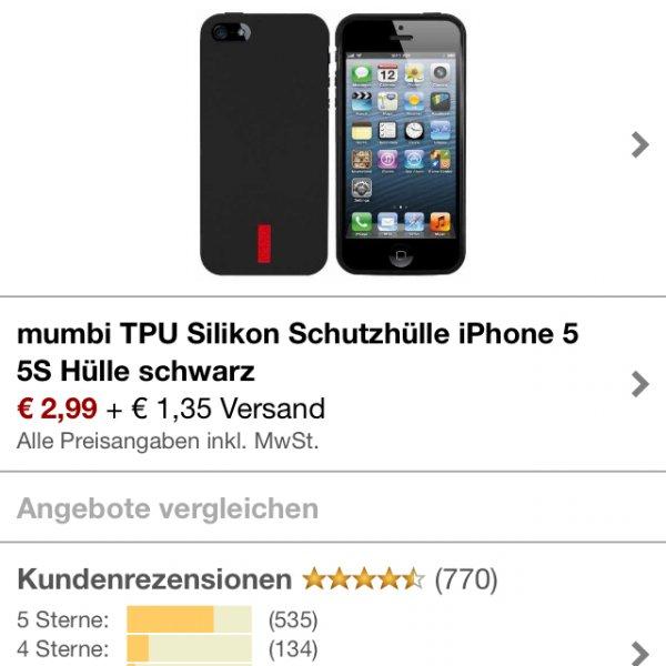 Mumbi Schutzhülle Schwarz iPhone 5 Silikon (Amazon.de)