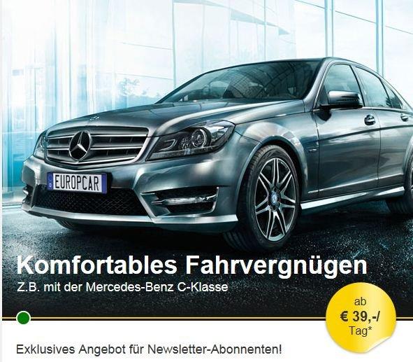 Mercedes C-Klasse o.ä. (FDMR) für 273,- / Woche inkl. Vollkasko @Europcar