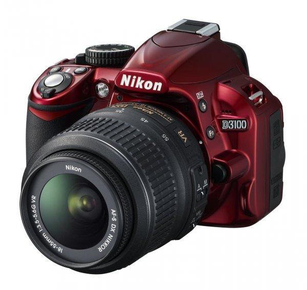 Nikon D3100 inkl. AF-S DX NIKKOR 18-55 mm VR  in ROT für 329€