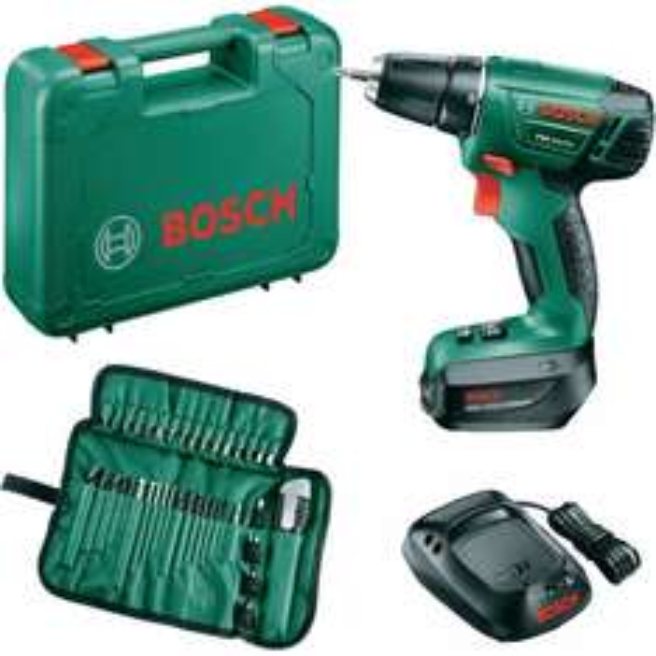 Bosch PSR 14,4 LI im Koffer + 39-tlg. Bit-& Bohrer-Set