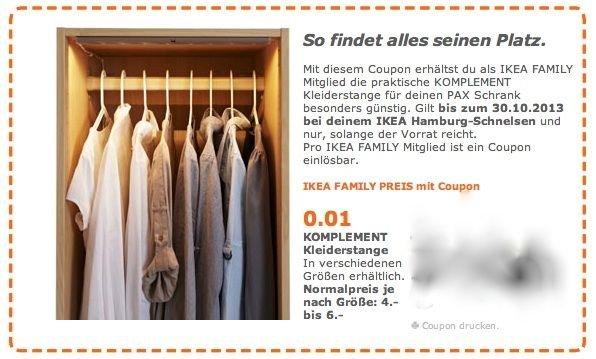lokal IKEA Hamburg Schnelsen Komplement Kleiderstange für 0,01 € für Family Mitglieder