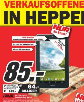 Verkaufsoffener Sonntag MediaMarkt Heppenheim: Asus MeMO Pad 7 16GB für 85€