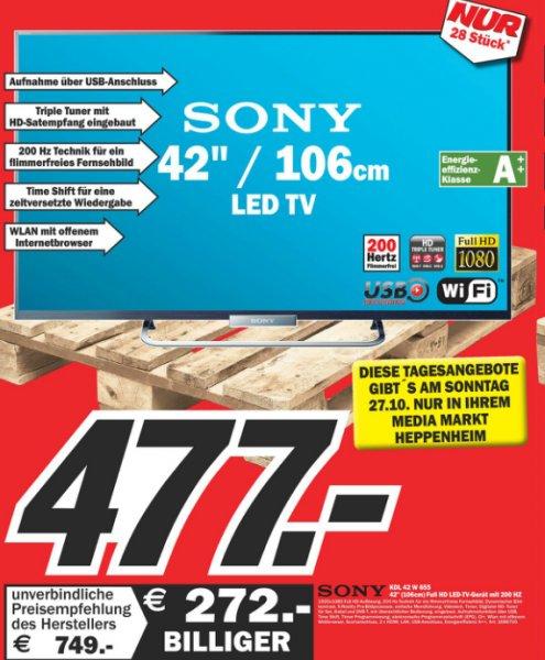 Verkaufsoffener Sonntag MediaMarkt Heppenheim: Sony  KDL-42W656 LED-Backlight, EEK A+, FullHD, 200Hz, WLAN, Smart TV für 477€ (Vergleichspreis: 569€)