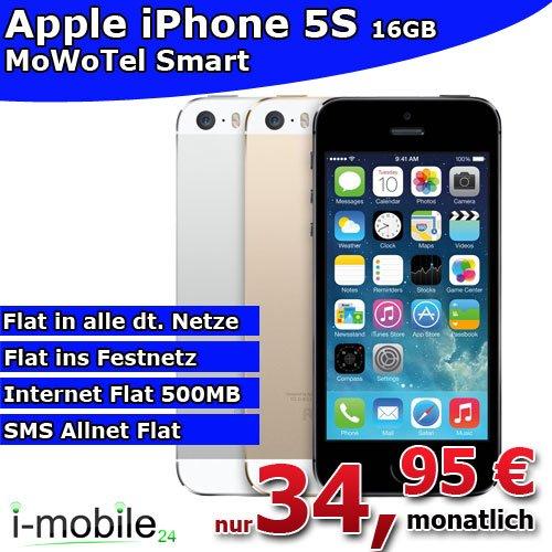 Apple iPhone 5S inkl. Allnet Flat für nur 34,95€ mtl.