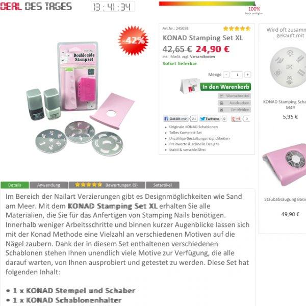 Für die Frauen hier - Konad Stamping Set XL -42% (24,90€ statt 42,65€) bei nd24.de