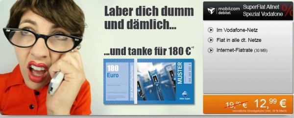 Allnet Flat für effektiv 5,49€ mtl. im Vodafone Netz durch 180€ ARAL Gutschein