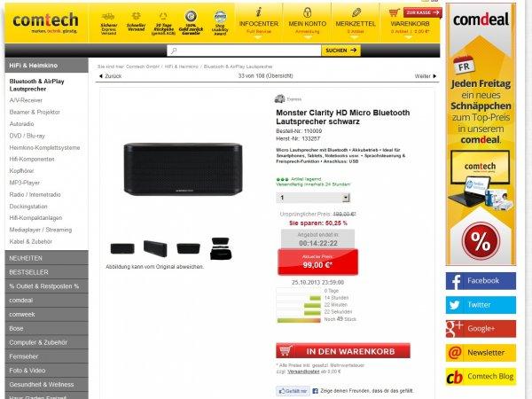 Monster Clarity HD Micro Bluetooth Speaker für 99€ versandkostenfrei - Tagesdeal