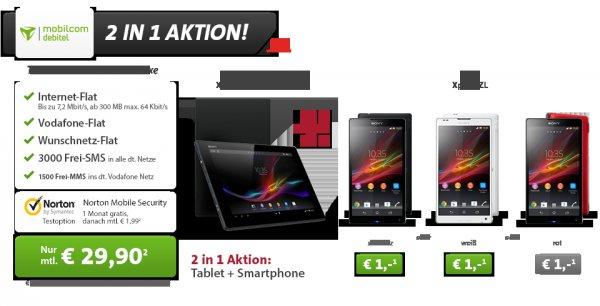 Sparhandy Xperia Tablet Z LTE + Xperia ZL + Inet+VF+Wunschnetz Flat + 3000SMS nur 29,90€