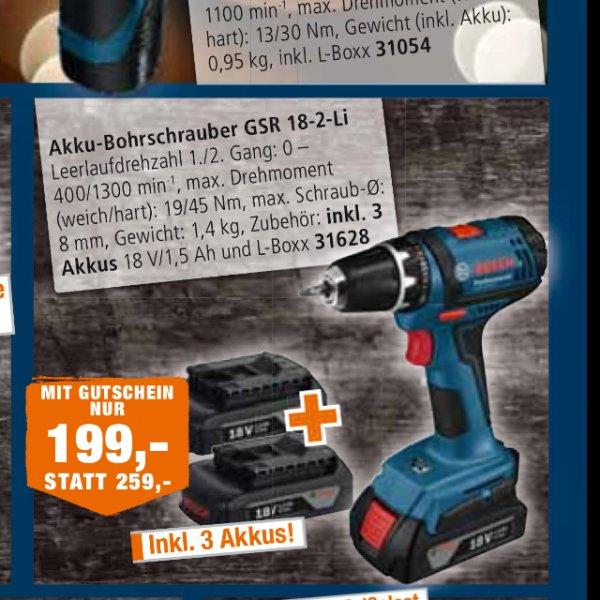 [Lokal Ansbach] Bosch GSR 18-2 Li + LBoxx + 3x 1,5 A Akkus
