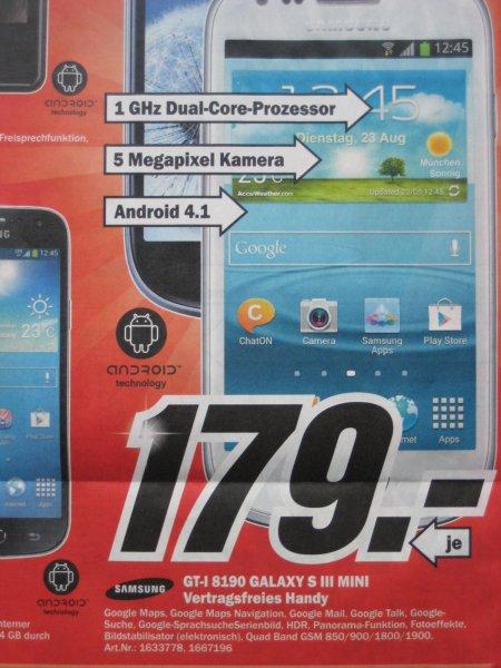 [Lokal MM Düsseldorf Bilk Arcaden] Samsung Galaxy S3 Mini sw/ws 179 €, Samsung Galaxy S4 Mini sw/ws 299 €