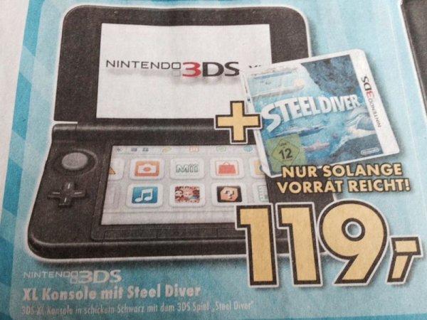 (Lokal Syke bei Bremen) NINTENDO 3DS XL + STEEL DIVER für 119,-€ bei EURONICS XXL (NUR HEUTE bis 18 :00 Uhr)